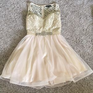 Dresses & Skirts - Cream and gold homecoming dress